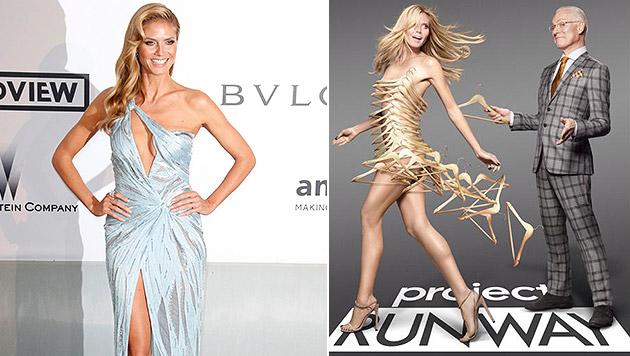 """Heidi Klum wirbt nackt, nur mit Kleiderbügeln bekleidet, für ihre Show """"Project Runway"""". (Bild: APA/EPA/GUILLAUME HORCAJUELO, facebook.com/heidiklum)"""
