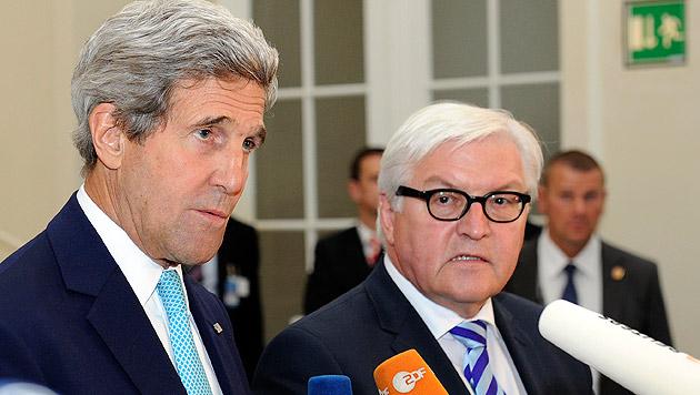 Außenminister Kerry und Steinmeier konnten nach den Verhandlungen kein positives Ergebnis vermelden. (Bild: APA/Hans Punz)