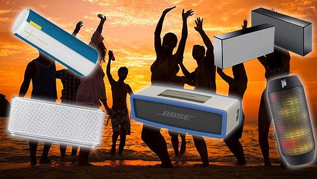Die coolsten Outdoor-Boxen für den Sommer (Bild: thinkstockphotos.de, JBL, Bose, Logitech, Samsung, Sony)