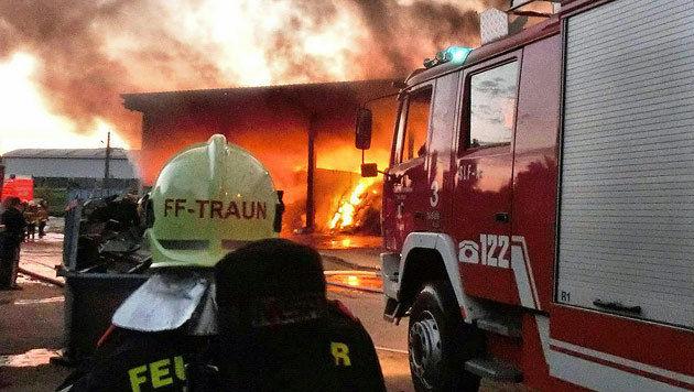 Brand in Entsorgungsfirma forderte Einsatzkräfte (Bild: APA/FF TRAUN/FLORIAN KOLLMANN)