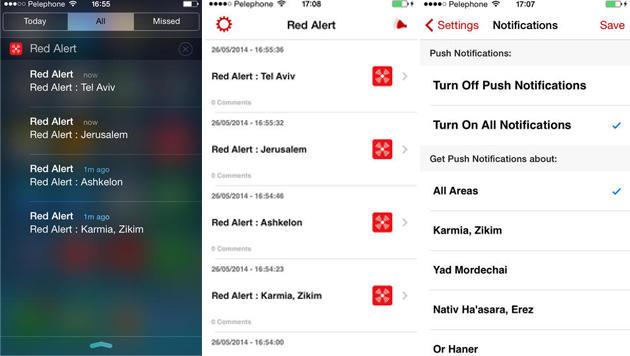 Die App Red Alert informiert über die Raketengefahr in verschiedenen Regionen Israels. (Bild: iTunes App Store)