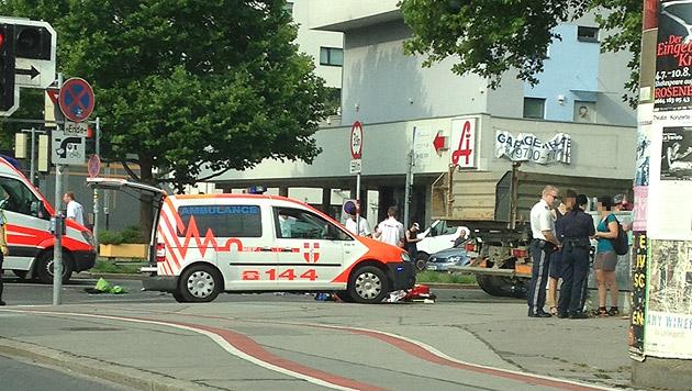 """Radfahrer in Wien von Lkw überrollt und getötet (Bild: """"Krone""""-Leserreporterin Jennifer Neuhold)"""