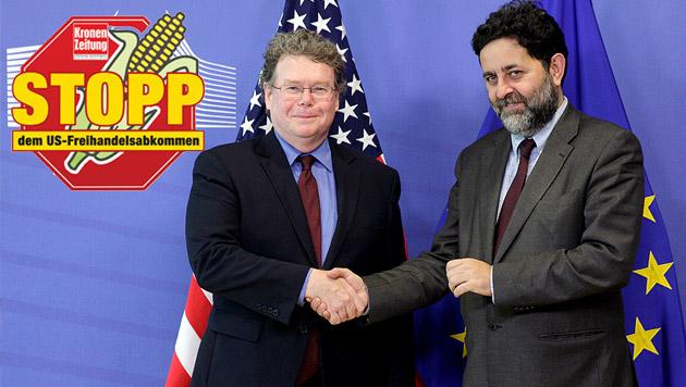 Brüssel: Hinter den Kulissen beim Handelspakt (Bild: AP, Krone GRAFIK)