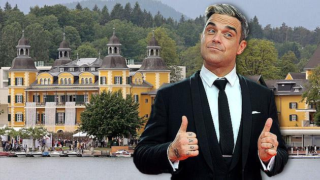 Robbie Williams hat in Kärnten eingecheckt (Bild: APA/dpa/Britta Peder, APA/GERT EGGENBERGER, krone.at-Grafik)