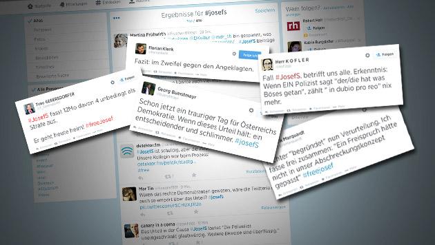 Schuldspruch für Josef S. sorgt für Empörung (Bild: Screenshot Twitter, twitter.com, krone.at-Grafik)