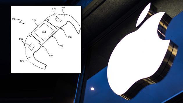 """iTime"" statt ""iWatch"": Apple sichert neues Patent (Bild: EPA, pdfpiw.uspto.gov, krone.at-Grafik)"