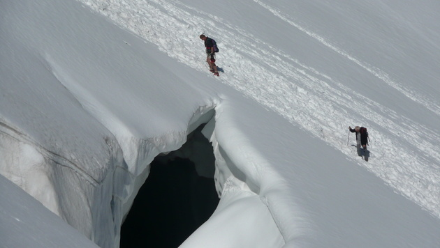 In diese Gletscherspalte stürzte die 45-Jährige. (Bild: Bergrettung/Brandstätter)