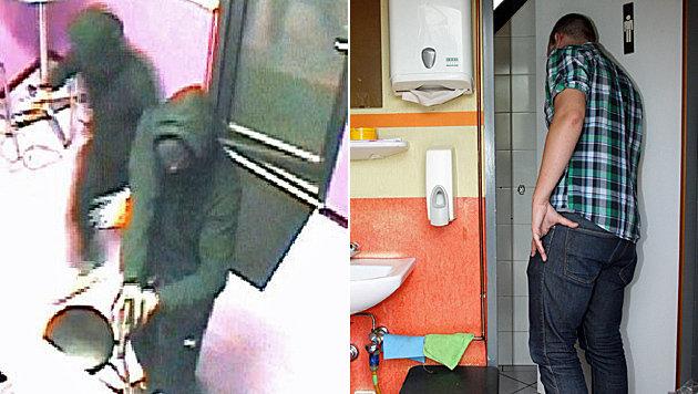 Links: Die beiden Täter stürmen das Wettbüro. Rechts: Die Opfer wurden in der Toilette eingesperrt. (Bild: Polizei, Klaus Kreuzer)