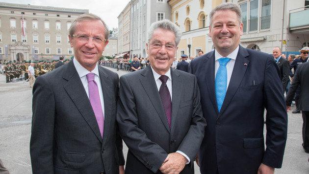 Wilfried Haslauer, BP Heinz Fischer und Bundesminister Andrä Rupprechter (Bild: APA/NEUMAYR/MMV)