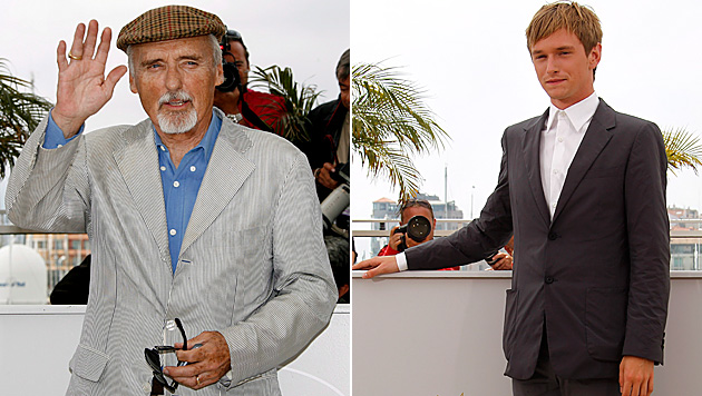 Gefeiert in Cannes: Dennis Hopper im Jahr 2008, Sohn Henry drei Jahre später. (Bild: GUILLAUME HORCAJUELO/EPA/picturedesk.com, IAN LANGSDON/EPA/p)