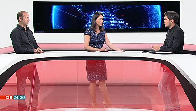 """Tamir Pixner, Lisa Gadenstätter und Abdurrahman Karayazili in der """"ZiB 24"""" (Bild: ORF)"""