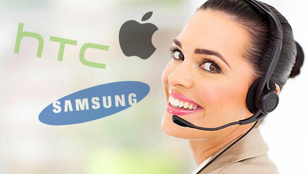 Große Service-Defizite bei Smartphone-Herstellern (Bild: thinkstockphotos.de, HTC, Apple, Samsung, krone.at-Grafik)