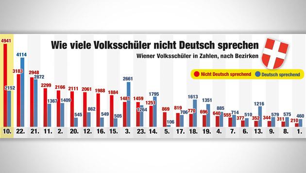 Jedes 2. Kind kann kaum oder gar nicht Deutsch (Bild: Krone GRAFIK, Statistik Austria/Stadtschulrat)