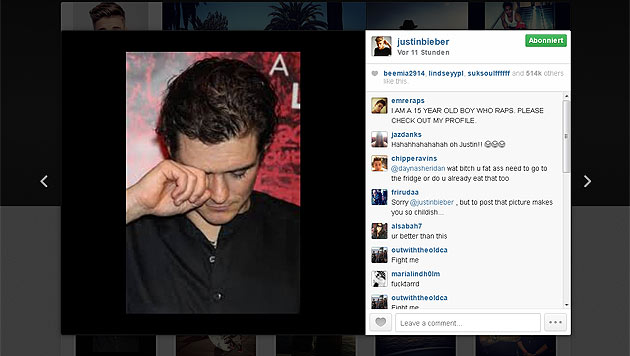 Justin Bieber zeigt Orlando Bloom als Heulsuse (Bild: instagram.com/justinbieber)