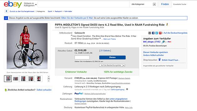 Auf ebay kann man Pippa Middletons Fahrrad ersteigern. (Bild: Screenshot ebay.at)