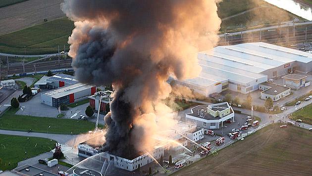 Reifenlager in Niederösterreich brannte lichterloh (Bild: APA/Paul Plutsch)