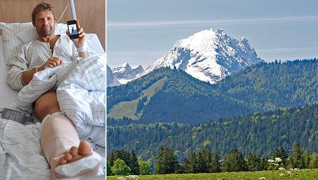 Andreas Konrad berichtet vom Krankenbett aus über die bangen Minuten, die er am Watzmann erlebte. (Bild: APA/SALK/WEINBERGER, APA/dpa)