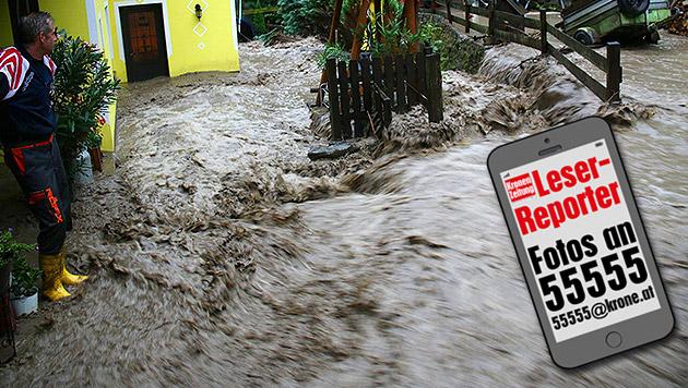 Unwetter sorgen erneut für Muren und Überflutungen (Bild: BFKDO Lilienfeld, krone.at-Grafik)