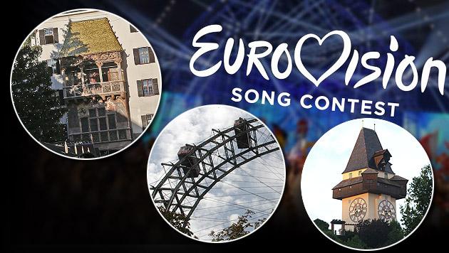 Song Contest 2015: Graz, Innsbruck und Wien sind noch im Rennen. (Bild: EBU, Jürgen Radspieler, Christof Birbaumer, Andreas Schiel)