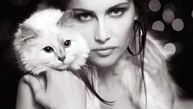 Choupette darf mit den schönsten Frauen kuscheln - unter anderem Model Laetitia Casta. (Bild: Viennareport)