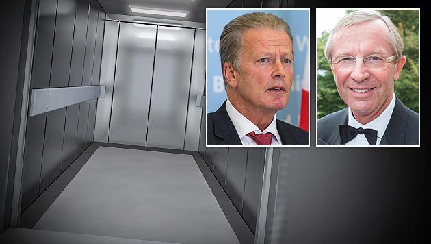 """Mitterlehner und Haslauer in """"Sauna-Lift"""" gefangen (Bild: APA/EPA/Hannibal Hanschke, APA/NEUMAYR/MMV, thinkstockphotos.de)"""