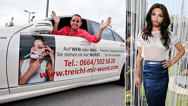 Diese Werbung schmeckt Conchita Wurst so gar nicht. (Bild: Markus Tschepp, Uta Rojsek-Wiedergut)