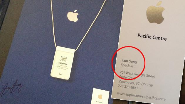Sam Sung versteigert letzte Apple-Visitenkarte (Bild: ebay.ca/Sam Sung, krone.at-Grafik)
