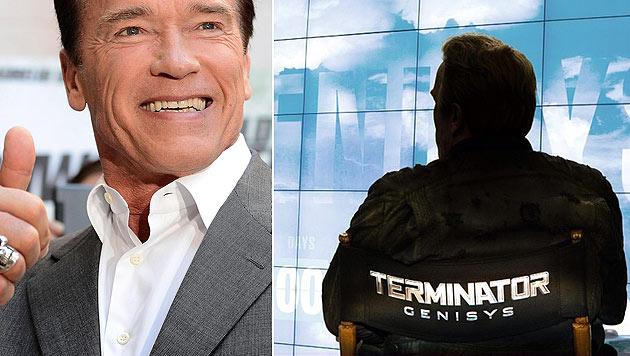 """Zum Abschluss der """"Terminator Genisys""""-Dreharbeiten postete Arnie ein Bild von sich im Regiestuhl. (Bild: EPA/CLAUDIO ONORATI, facebook.com/arnold)"""
