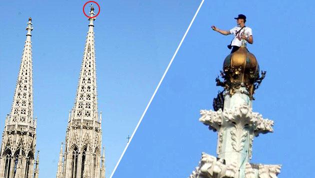 Mann auf Wiener Kirche - diese Bilder versetzten die Twitter-Gemeinde am Donnerstag in Aufregung. (Bild: Martin Schöpfer)