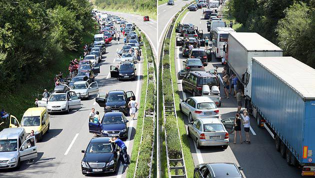 Bei heißen Temperaturen mussten zahlreiche Verkehrsteilnehmer stundenlang ausharren. (Bild: APA/DANIEL RAUNIG)