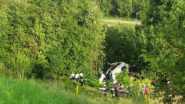 Der Wagen stürzte rund 60 Meter über eine Böschung und blieb in den Bäumen hängen. (Bild: HFW Villach/KK)