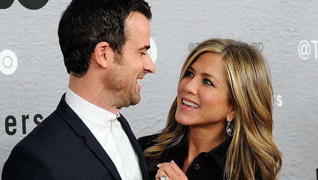Jennifer Aniston und ihr Verlobter Justin Theroux (Bild: AP/Evan-Agostini)