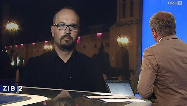 """Michel Reimon im Gespräch mit """"ZiB 2""""-Moderator Armin Wolf (Bild: tvthek.orf.at)"""