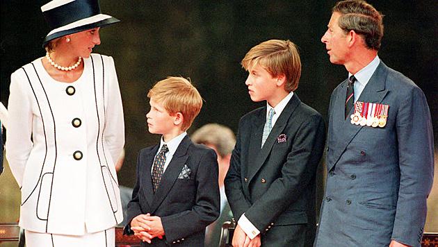 Prinzessin Diana und Prinz Charles mit ihren Söhnen Harry und Wiliam (Bild: EPA/picturedesk.com)