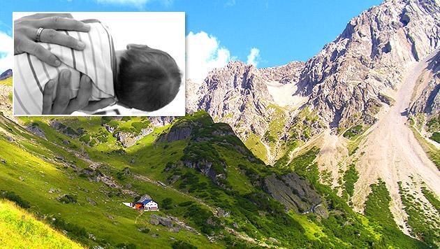 Baby kam im Tiroler Hochgebirge zur Welt (Bild: Österreichischer Alpenverein/Melcher, dpa/Seidel (Symbolbild))