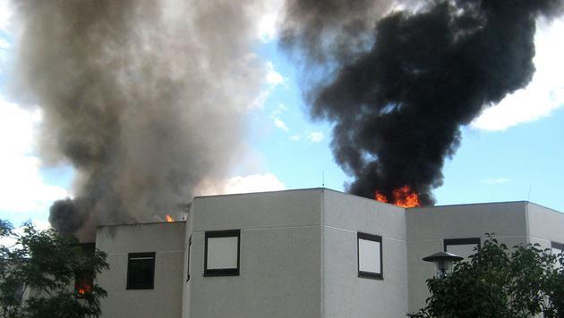 Die Rauchsäule von dem Brand in Pottendorf war kilometerweit zu sehen. (Bild: APA/DANIEL WIRTH/BFK BADEN)