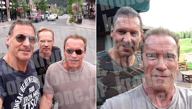 Ganz dicke Freunde: Arnie mit Zigarren-Guru Daniel Marshall und Ralf Möller (li.) (Bild: Arnold Schwarzenegger)
