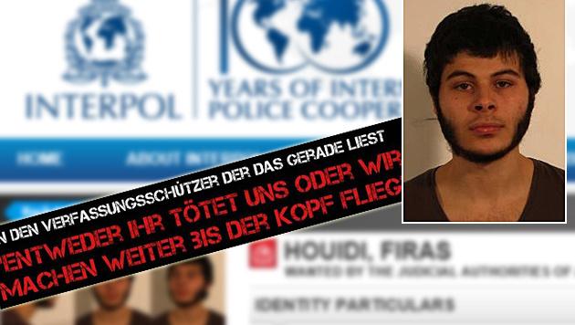 """Firas Houidi steht nun auf der internationalen Fahndungsliste von Interpol. (Bild: Interpol, """"Krone"""")"""