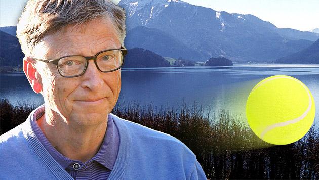 Bill Gates spielte am schönen Mondsee Tennis (Bild: AFP, APA/Rubra, thinkstockphotos.de, krone.at-Grafik)