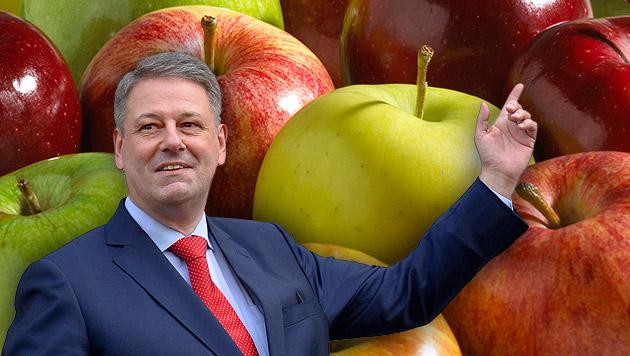 """""""Ein Apfel mehr pro Woche gegen Putin-Sanktionen"""" (Bild: APA/HERBERT NEUBAUER, thinkstockphotos.de, krone.at-Grafik)"""