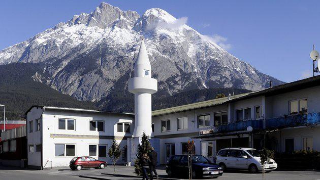 Das Minarett in der Gemeinde Telfs in Tirol. (Bild: APA/ROBERT PARIGGER)