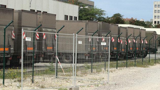 Bundesheer-Laster am Schrottplatz - in Reih und Glied (Bild: ANDI SCHIEL)