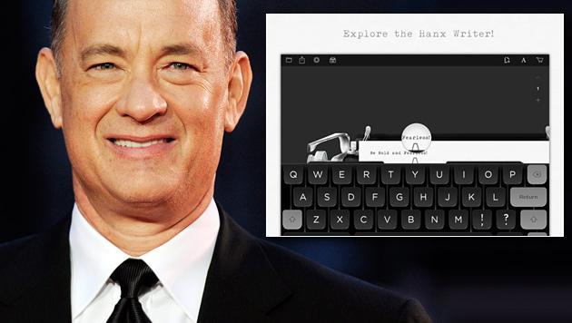 Tom Hanks lädt zum Schreibmaschinen-Tippen ein (Bild: EPA, iTunes, krone.at-Grafik)