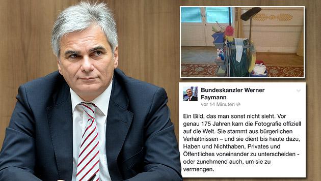 Kanzler Faymann und sein Putzkübel-Posting sorgen für Erheiterung. (Bild: APA/Roland Schlager, facebook.com)