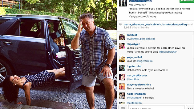 """""""Hilaria, warum kannst du nicht wie ein menschliches Wesen ins Auto steigen"""", fragt Baldwin. (Bild: instagram.com/hilariabaldwin)"""
