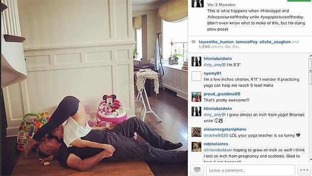Und so macht gemeinsames Yoga vermutlich auch Alec Baldwin Spaß. (Bild: instagram.com/hilariabaldwin)
