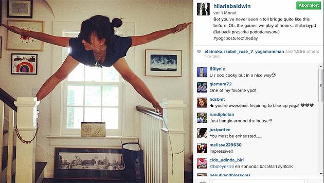 ... oder auf ihrer Treppe... (Bild: instagram.com/hilariabaldwin)