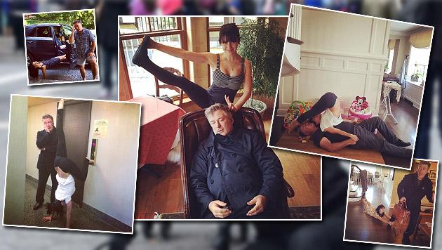 Alec Baldwin ist schon fix und fertig vom Yoga-Wahn seiner Frau. (Bild: instagram.com/hilariabaldwin, instagram.com/iamabfalecbaldwin)