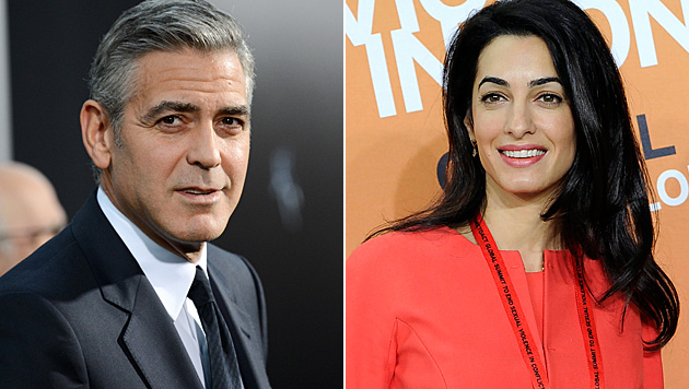 George Clooney Sprecher dementierte die Gerüchte um eine Schwangerschaft von Amal Alamuddin. (Bild: Evan Agostini/Invision/AP, APA/EPA/FACUNDO ARRIZABALAGA)