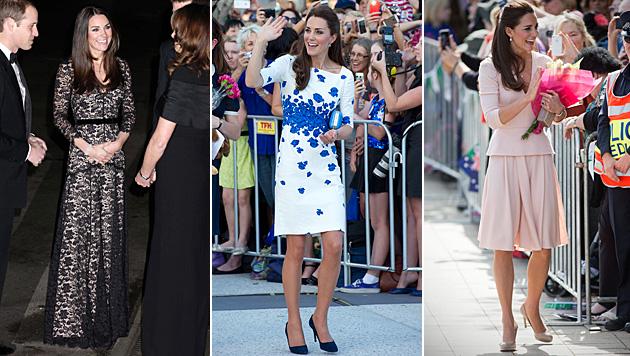 Mit ihren Outfits schafft Kate immer wieder neue Trends. (Bild: APA/EPA/Yui Mok/PA Wire, APA/EPA/DAVE HUNT, APA/EPA/DAVID GRAY)